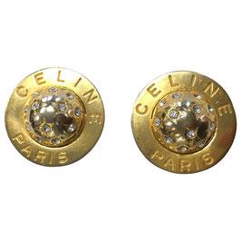 Boucles d'oreilles Céline clips en métal doré et pierres