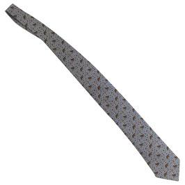 Cravate Hermès bleu argenté motif chevaux d'équitation