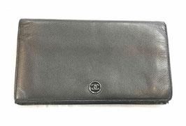 Portefeuille Chanel en cuir noir
