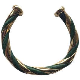 Bracelet Hermès Torsade doré et cuir vert impérial