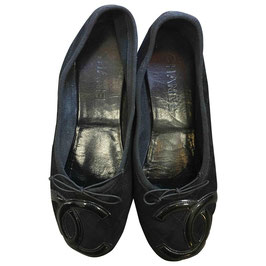 Ballerines Chanel en cuir velours Ooups, VENDUES