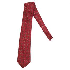 Cravate Hermès rouge motif ours et poissons