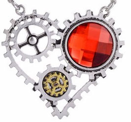 Herz mit rotem Stein (Steampunk)