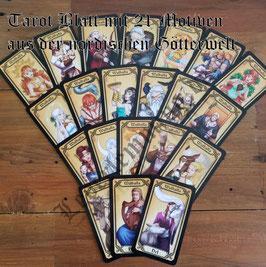Walhalla Tarot Blatt mit 21 Motiven aus der nordischen Götterwelt