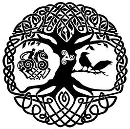 "Folienaufkleber ""Yggdrasil"" 29cm mit Rune oder Triskele"