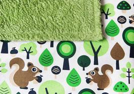 Babydecke | Eichhörnchen grün