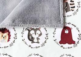 Babydecke | Waldtiere grau *Neu
