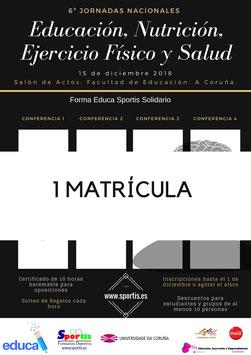 1 Matrícula 6ª Jornadas Nacionales de Educación, Nutrición, Ejercicio Físico y Salud. Forma Educa Sportis Solidario.