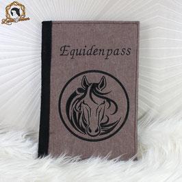 Bestickte Equidenpass-Hülle aus Filz - DIN A5