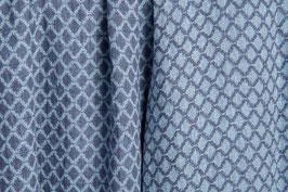 Gewaschenes Leinen mit eingewebten Ornamenten in graublau - dunkelblau