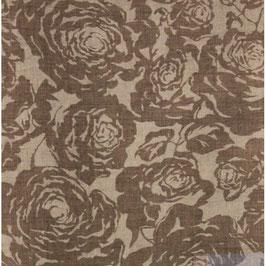 Naturrose - braune Rose auf beigem Leinen.