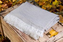 Leinendecke grau gemustert - schwere Qualität