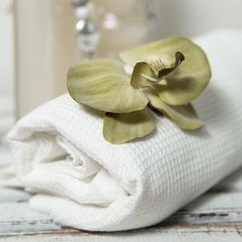 Schneeweisses Handtuch in Voll-Leinen