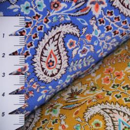 Paisely in sonnengelb oder azurblau - ca. 140 cm breit - Viskose