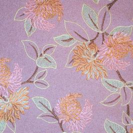 floral bestickter Walk - 50%Viksose/50%Wolle - bestickte Breite 130 cm/Gesamtbreite 150 cm