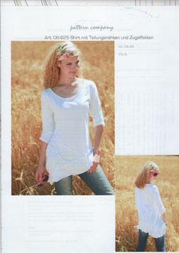 Shirt mit Teilungsnähte und Zufeffekten 06-625