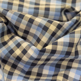 Popeline hellbau dunkelblau weiss - Karogröße ca. 6mm - 100% Baumwolle - Hemdenware - ca. 145cm breit