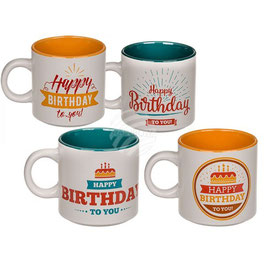 Tasse mit Happy Birthday 4 Motive