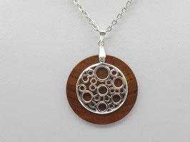 Halskette mit Anhänger aus Zwetschge & Ornament aus 925 Silber