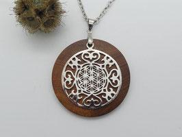 Halskette mit Anhänger aus Zwetschge & Ornament mit Blume des Lebens aus 925 Silber