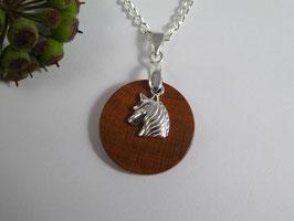 Halskette mit Anhänger aus Zwetschge & Einhorn aus 925 Silber