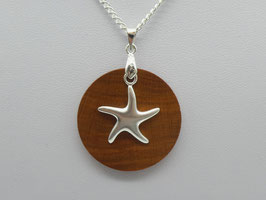 Halskette mit Anhänger aus Zwetschge & Seestern aus 925 Silber