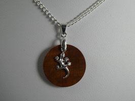 Halskette mit Anhänger aus Zwetschge & Salamander aus 925 Silber