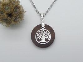 Halskette mit Anhänger aus Zwetschge & Lebensbaum aus 925 Silber