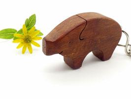 Schlüsselanhänger Schwein aus Birnenholz