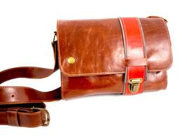 Streifentasche S braun mit rotem Streifen
