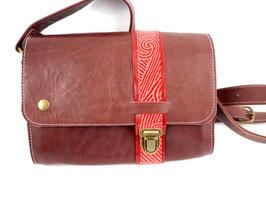 Streifentasche S rotbraun mit rotem Streifen