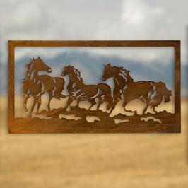paesaggio con cavalli in cornice