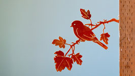 Uccellino su ramo di acero Cod. E4