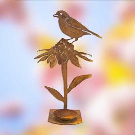 Uccellino su girasole porta candela Cod. Z6