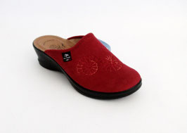 Ciabatte Fly Flot colore rosso - sottopiede in pelle