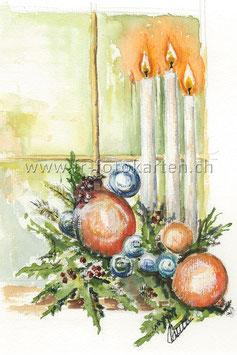 Kerzen vor Fenster / Karten Nr.1088AC