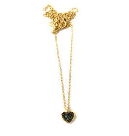 Fadenfeines Kettchen Gold mit schwarzem Glitzerherz