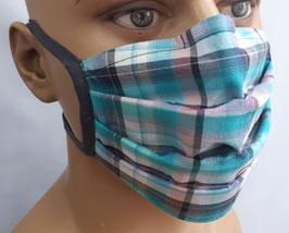 "Mund-Nasen-Maske ""Kariert petrol rosa"""