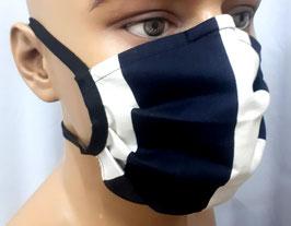 """Mund-Nasen-Maske """"Schwarz-beige-gestreift"""""""