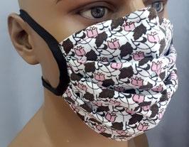 """Mund-Nasen-Maske """"Blümchen braun/rosa"""""""