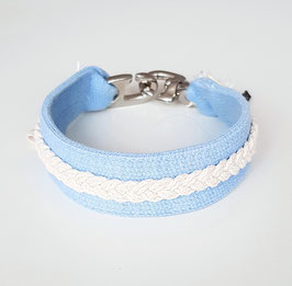 """Schmuckhalsband Special """"Basis hellblau / Zopf weiß / Halsbandlänge 27 cm & 37 cm"""""""