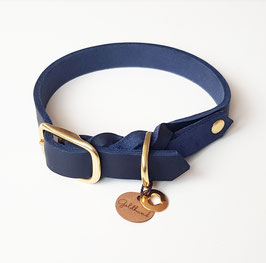 Halsband Fettleder dunkelblau mit gold