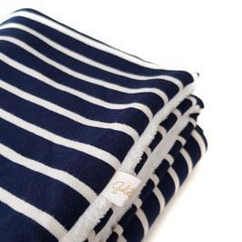 Kuscheldecke dunkelblau - weiß gestreift / Teddy ecru