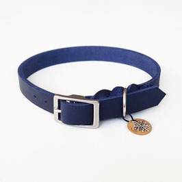 Halsband Fettleder dunkelblau mit silber