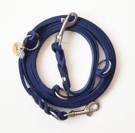 Dreifach verstellbare Fettlederleine ~ dunkelblau / silber ~ 10 mm
