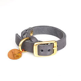 Halsband Fettleder grau mit gold