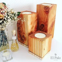 3 Kerzenhalter aus Holz - Gr. L - Vela 4.0 - El Palo Germany