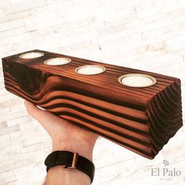 4 Kerzen + Kerzenhalter aus Holz- Rustico 1.0 - El Palo Germany
