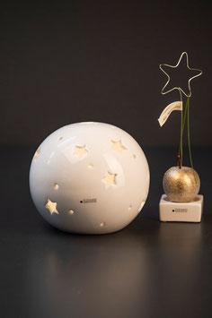 Tiziano Lichtkugel Padova mit Stern LED und Timer weiß creme