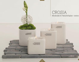TIZIANO Teelicht Crosia 10 cm creme